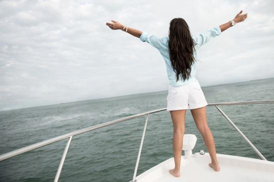 Woman enjoying sailing