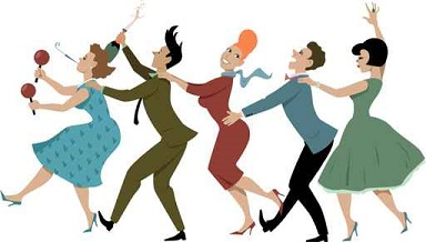 Group of people dressed in late 1950s early 1960s fashion dancin